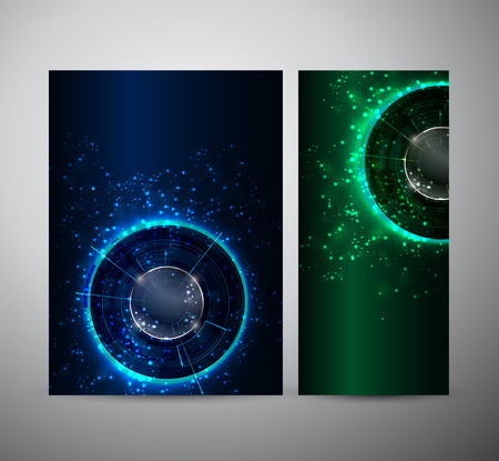 cool backgrounds: Brochure business design template or roll up. Abstract Modern technology circles.