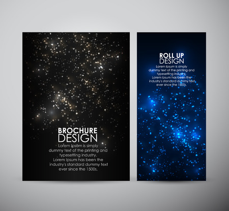 Brochure business design template or roll up. Abstract bokeh digital background. Vector illustration. Vettoriali
