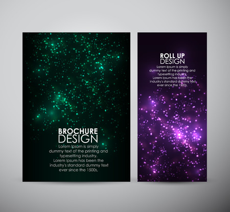Brochure business design template or roll up. Abstract bokeh digital background. Vector illustration. Illustration