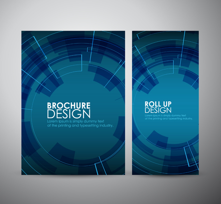 cool backgrounds: Brochure business design abstract Modern technology circles template or roll up. Illustration
