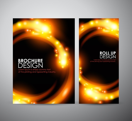 flare up: Brochure business design template or roll up. Abstract digital flare frame. Illustration