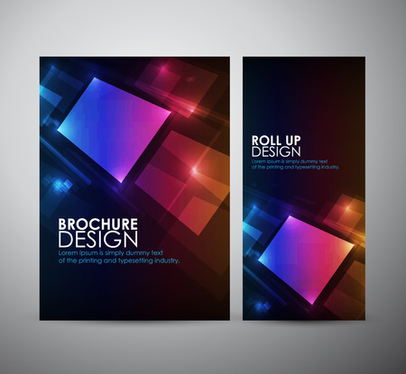 Abstract Squares digital. Brochure business design template or roll up.