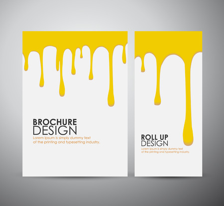 ooze: Vector seamless paint drips on brochure business design template or roll up.