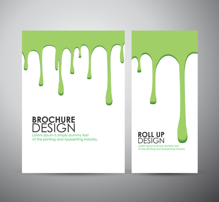 white paint: Vector seamless paint drips on brochure business design template or roll up.