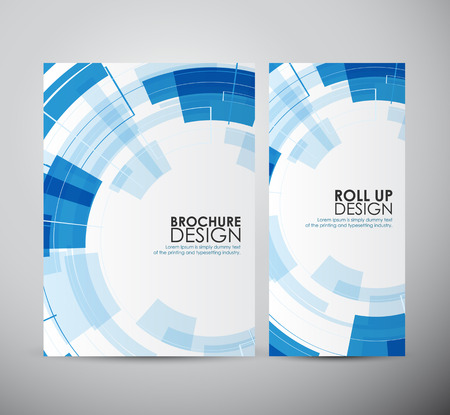 Brochure ontwerp abstracte moderne technologie cirkels sjabloon of oprollen.