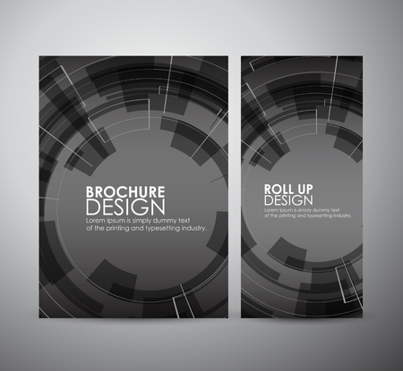 electronic background: Brochure business design abstract Modern technology circles template or roll up. Illustration