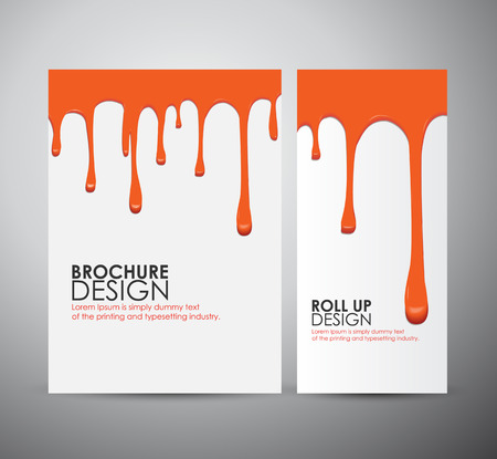 Vector seamless paint drips on brochure business design template or roll up.