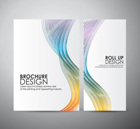 line up: Brochure business design template or roll up. Abstract background with colorful waves.