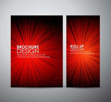 flare up: A color design with a burst. lens flare. Brochure business design template or roll up.