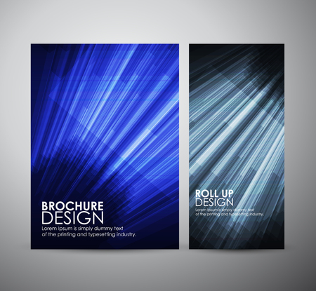 green lines: brochure business design template or roll up with geometric elements. Vector illustration