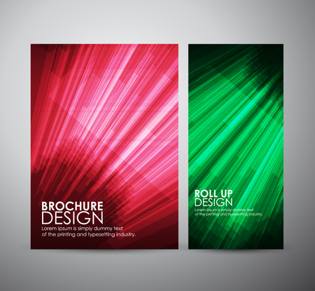 green and black: brochure business design template or roll up with geometric elements. Vector illustration
