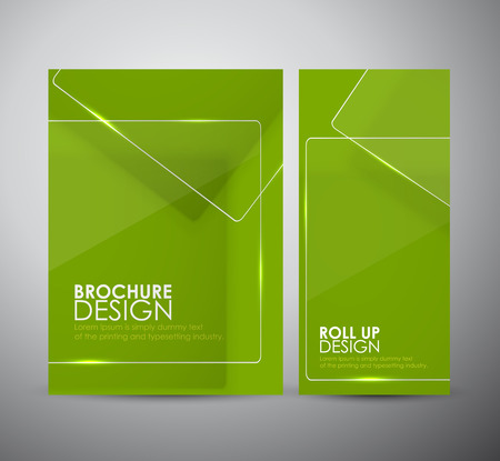banner effect: Brochure business design template or roll up with Transparent clear glass framework. Illustration
