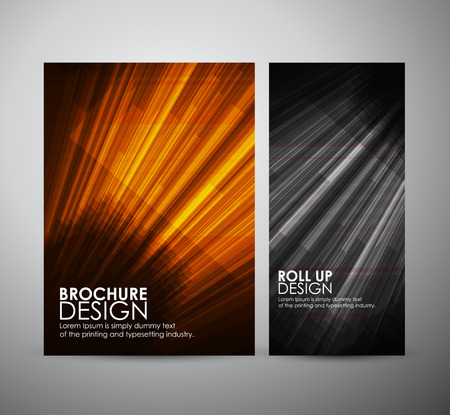 light  glossy: brochure business design template or roll up with geometric elements. Vector illustration