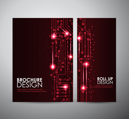 abstract wallpaper: Abstract blue lights brochure business design template or roll up. Vector illustration.