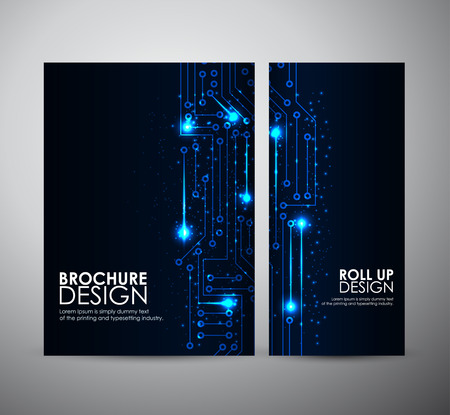 electric line: Abstract blue lights brochure business design template or roll up. Vector illustration.