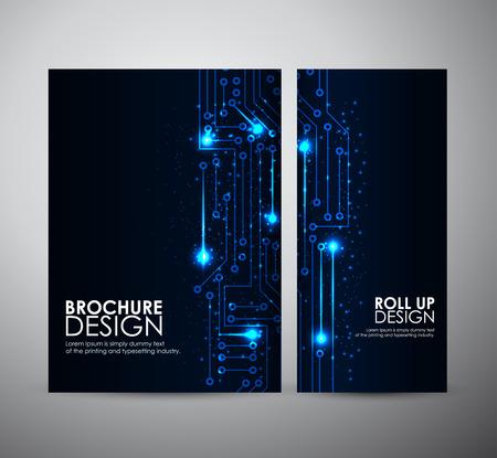circuitos electricos: Luces azules plantilla de diseño de negocios folleto abstracta o roll up. Ilustración del vector. Vectores