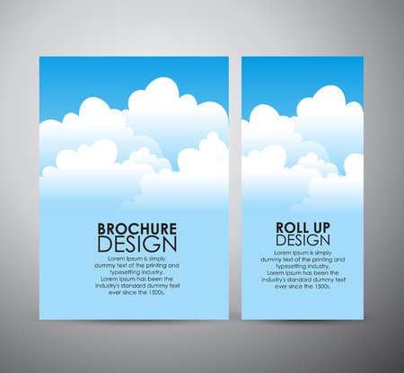 Abstract blue sky with cloud brochure business design template or roll up.
