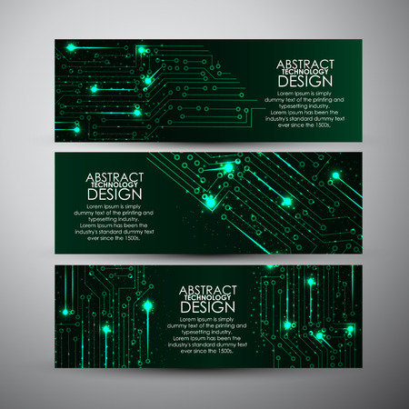 Vector banners set with Abstract blue lights technology background.