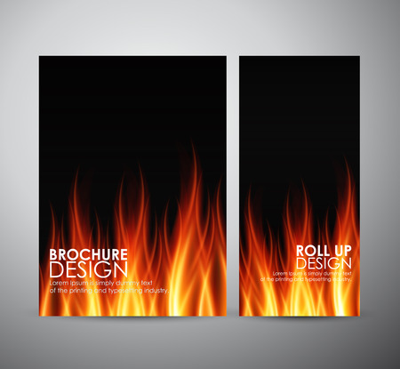 fuoco e fiamme: Fire flames background. Brochure business design template or roll up.