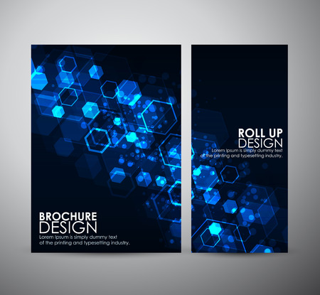Abstract background hexagons. Brochure business design template or roll up. Çizim
