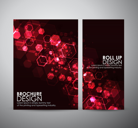 Abstract background hexagons. Brochure business design template or roll up. Ilustrace