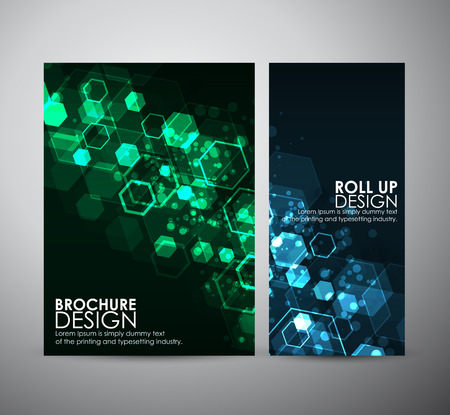 Abstract background hexagons. Brochure business design template or roll up. Vectores