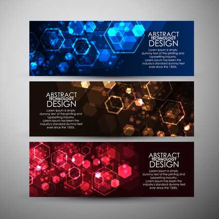 computer science: Vector banners set with Abstract hexagons background.