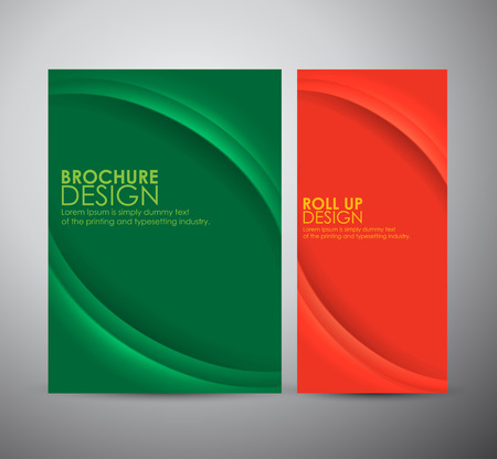 Abstract curve line vector brochure business design template or roll up. Vettoriali