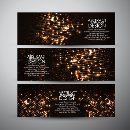 Vector banners set with Abstract technology background.
