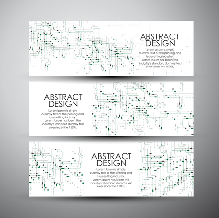 Vector banners set with abstract technology.