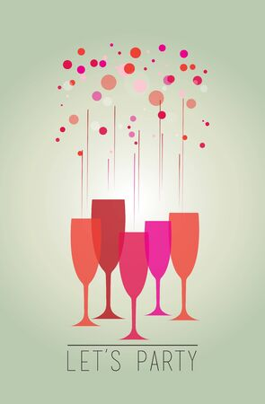 blue vintage background: Illustration of a colorful bubbles and glasses  Lets party.