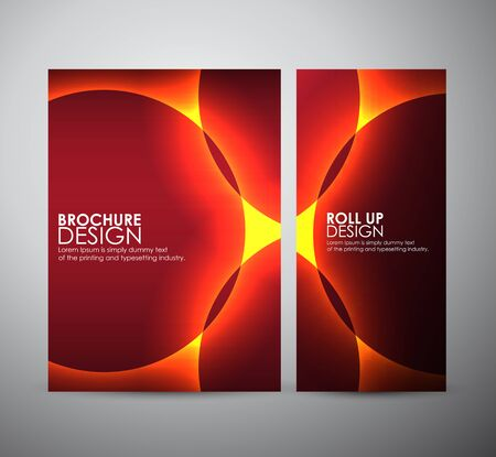 background designs: Brochure business design light effects on round template or roll up. Vector Illustration