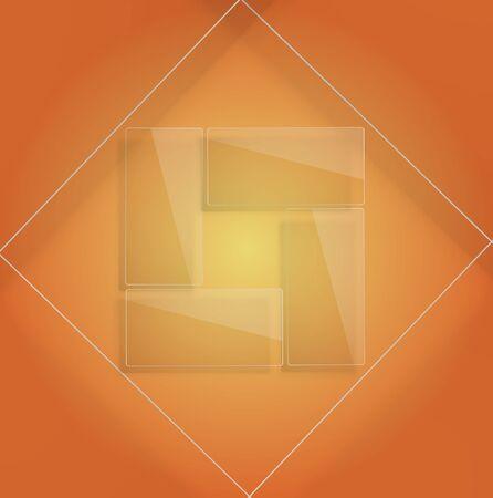 Transparent glass frame Web design template. Illustration
