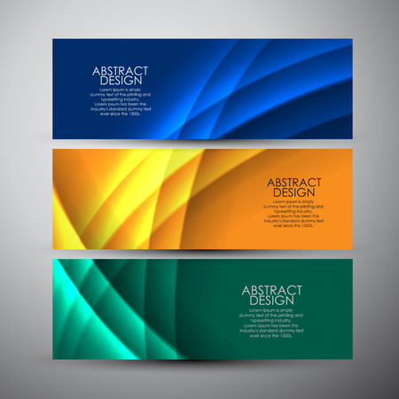 Vector banners set with curves background. 向量圖像