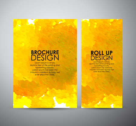 Abstract brochure Paint Splash. Bright watercolor stains. business design template or roll up. Vector illustration