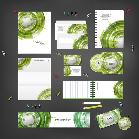 compliment: Stationery template design set with technology on background. Template for Business artworks.