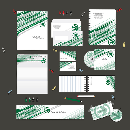 red arrows: Stationery template design set with arrow technology on background. Template for Business artworks. Illustration