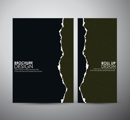 rip: Abstract Torn paper brochure business design template or roll up. Vector illustration