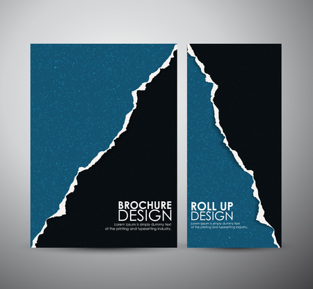 Abstract Torn paper brochure business design template or roll up. Vector illustration