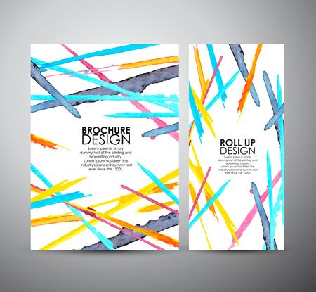 Resumen del folleto manchas de acuarela brillante. Diseño de negocio o rueda para arriba. ilustración vectorial Vectores