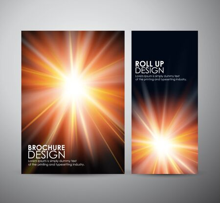 flare up: Brochure business design template or roll up. Abstract orange digital flare frame