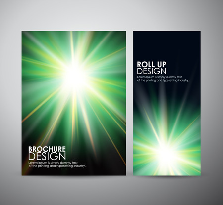 flare up: Brochure business design template or roll up. Abstract green digital flare frame