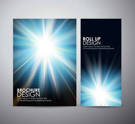 flare up: Brochure business design template or roll up. Abstract blue digital flare frame