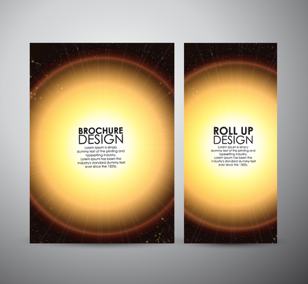 flare up: Brochure business design template or roll up. Abstract yellow digital flare frame
