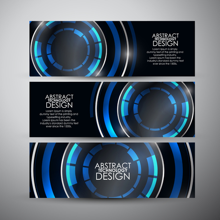 banners set with Abstract Modern technology circles background. Vectores