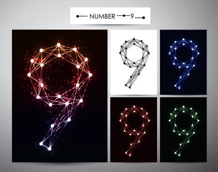 brilliants: Molecule Number  9 Trendy alphabet fonts of sparkling brilliants
