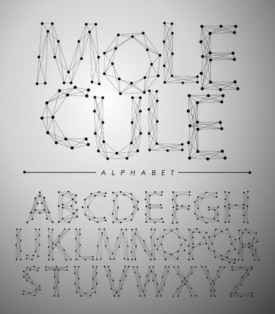 molecula: fuentes de moléculas alfabeto de moda, ilustración vectorial.