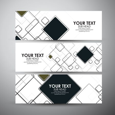 square abstract: Vector banners set with Abstract square background.