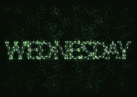 wednesday: Vector typographical illustration with molecule word Wednesday