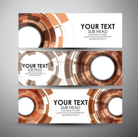 editable: Vector banners set with Abstract Modern technology circles background.